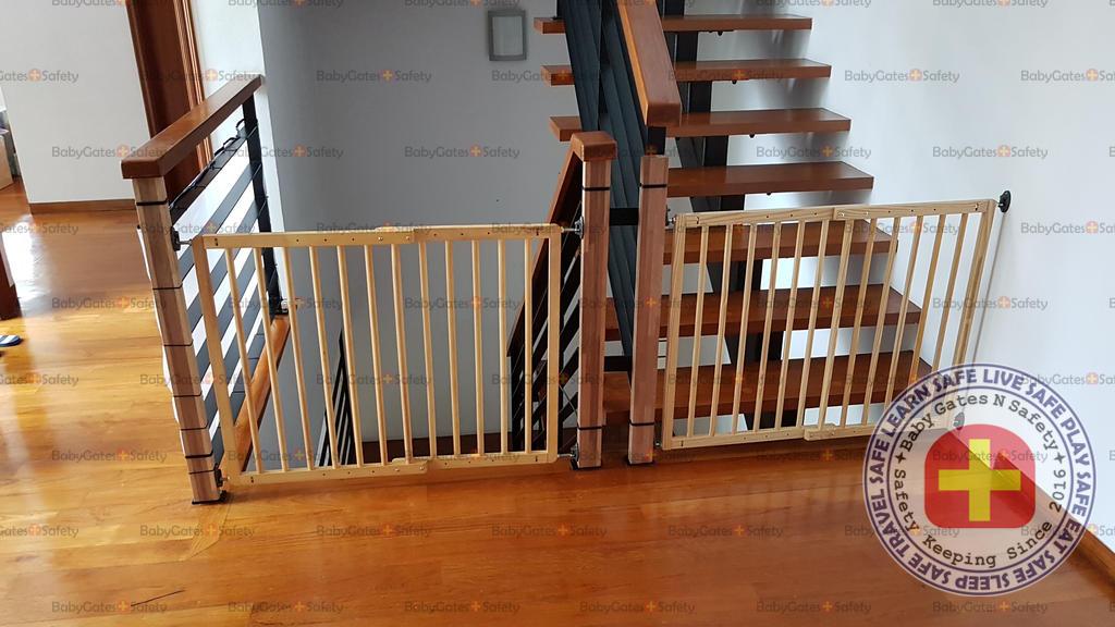 2 Wall Mounted Hard Gates at a stairway landing