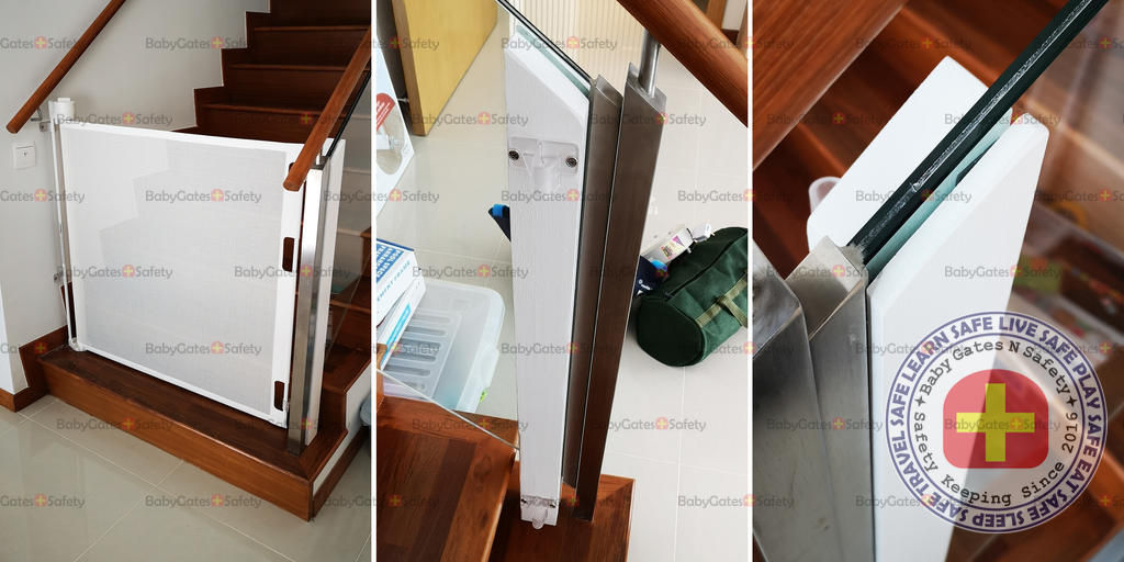 Installing Gate at stairway with glass railing